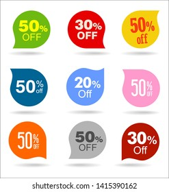 Collection of sale stickers and tags