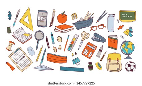 Collection of school supplies or stationery. Bundle of accessories for lessons, items for education of smart pupils and students isolated on white background. Colorful hand drawn illustration