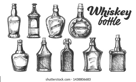 Collection Of Scotch Whisky Bottle Set . Different Hand Drawn Stylish Modern And Vintage Bottle of Traditional England Grain Alcoholic Drink. Monochrome Mockup Design Cartoon Illustration