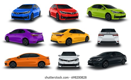 Collection Sedan Vehicles New Car Colorful isolated on white background.