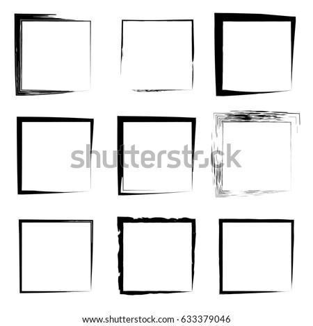 Collection Set Artistic Black Paint Hand Stock Illustration ...