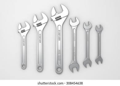 Collection set of wrenches metallic brilliant. Repair tools on a white background