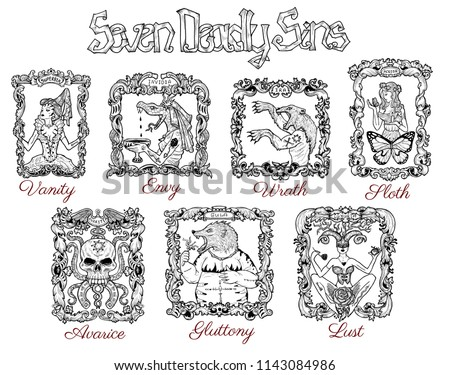 Collection Seven Deadly Sins Concept Drawings Stock Illustration