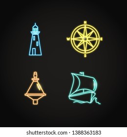 Collection of ship and nautical icons in glowing neon style. Marine symbols set including compass rose, buoy, lighthouse and sailboat. Sea adventure concept elements.