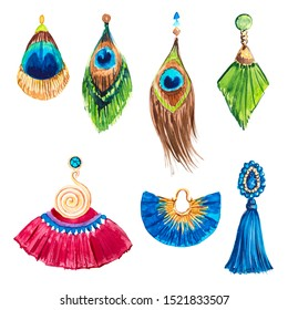 Collection of silk tassels, jewelry, pendants, earrings, peacock feathers. Fashionable glamorous accessories.