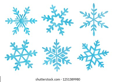 Collection of six different watercolor snowflakes. Blue color and delicate shimmer effect. Hand drawn water color painting on white, cutout decorative clip art elements for decoration, design, prints.