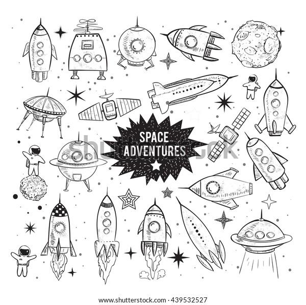 Sammlung von skizzenhaften Raumobjekten auf weißem Hintergrund. Raumschiffe, Raketen, Space Shuttle, Planeten, fliegende Untertassen, Astronauten usw.