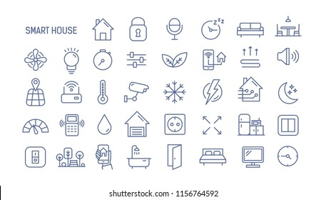 Collection of smart house linear icons - control of lighting, heating, air conditioning. Set of home automation and remote monitoring symbols drawn with thin contour lines. illustration.