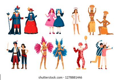 Collection of smiling men and women dressed in various festive costumes for holiday masquerade, Venetian or Brazilian carnival, home theme party. Colorful illustration in flat cartoon style.