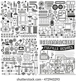 A collection of spare parts, scrap metal in doodle style. Isolated outline drawing. Fantastic machine, apparatus.