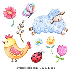 Collection of spring and Easter watercolor elements, isolated on white background. Cute, hand drawn cartoon icons, flowers, sheep, chick, lady bug.