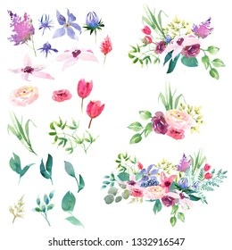 Collection spring romantic pink purple and white flowers green leaves. For Wedding invitation card.