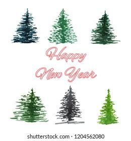 Collection Spruce. Watercolor background with place for text.