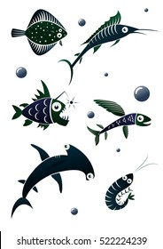 Collection of stylized fishes.  Flounder fish, flying fish, angler fish, marlin fish, shrimp, hammerhead shark.