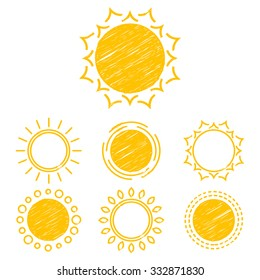 Collection sun icons, design elements, emblem. Set of abstract symbols of the sun. Children's drawings of sun. Hatching.