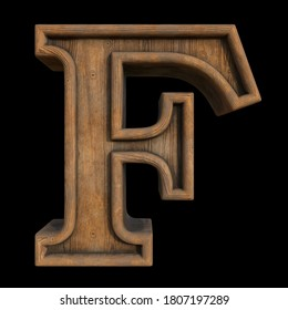 The collection of symbols from old rustic wood - letter F. Grunge style. Isolated on black background. 3d illustration.