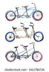 Collection of tandem bicycles with colorful weels. Hand painted watercolor style