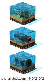 Collection of three 3d Illustration. Oil and gas pipelines are  lying on section of ocean bottom under water, isolated on white background
