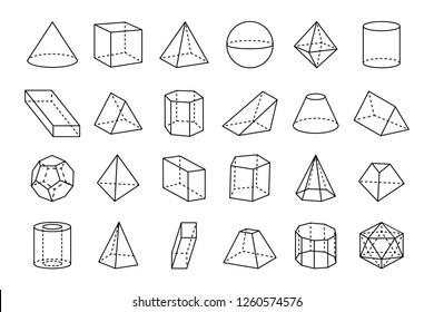 Collection of three dimensional geometric shapes, sketches of various forms, such as triangles and cubes on raster illustration isolated on white