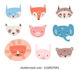 collection with tiny animal faces. Emoji. Cat, fox, raccon, panda, pig, elephant, lion rabbit and bear Cartoon style