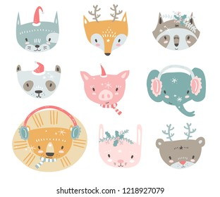 collection with tiny animal faces in winter costumes. Emoji. Cat, fox, raccon, panda, pig, elephant, lion, rabbit and bear Cartoon style