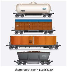 Collection of Train Cargo Wagons, Tanks, Cars.