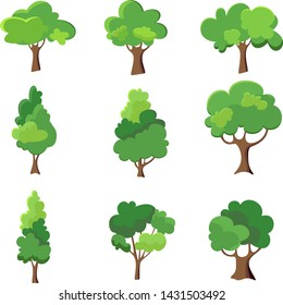 Collection of trees illustration. Can be used illustrate any nature lifestyle topic.