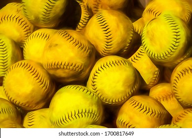 Collection of used yellow leather softballs with black stitching in strong sunlight and shadow, with digital painting effect and texture, for themes of sport, equipment, pattern and repetition