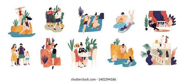 Collection of vacation activities or scenes - people hiking, swimming, sunbathing, diving, sightseeing during summer adventure trip or journey. Colorful illustration in flat cartoon style
