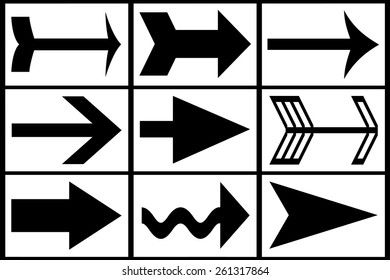 collection of various black arrows on white background