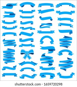 A collection of various blue ribbons illustration