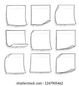 Collection of various note papers. Hand drawn doodle notepaper for messages set