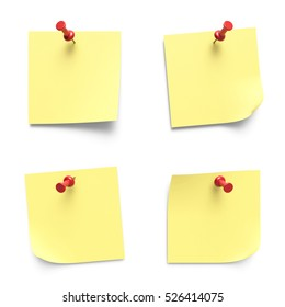 Collection of various yellow note papers with curled corner pinned with red push pin 3D rendering isolated on white background