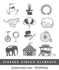 Collection vector elements for design circus. Design elements. Circus icons isolated on white background. Elements of circus for logo design. Illustration