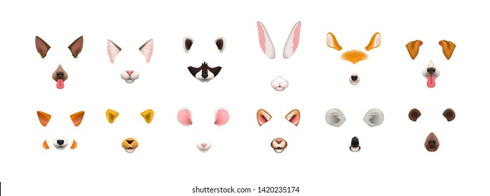 Collection of video chat application effects. Bundle of cute and funny faces or masks of various animals - dog, cat, fox, raccoon, rabbit, koala, bear, mouse, deer. Colorful illustration.