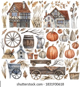 Collection of vintage rural houses, garden elements, pumpkins, dry herbs painted in watercolor. All elements are isolated on a white background and can be combined with each other