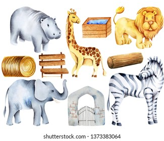 Collection of watercolor animals, elements and attributes of the zoo, hand painted on a white background