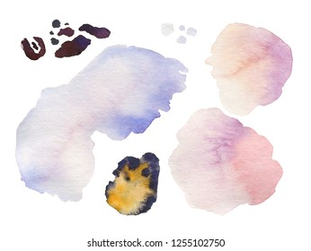 Collection of watercolor banners shape blots, isolated on white backgraund with water brash. Abstract texture element. Colorful painting