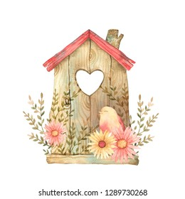 Collection of watercolor colorful birdhouses, cute birds and nests illustrations, hand drawn isolated on a white background.