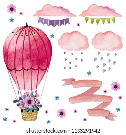 Collection of watercolor elements. Cluds, hot air ballon with flowers, ribbon, flag garland, hearts. Help you to create your unique design. Isolated on white background.