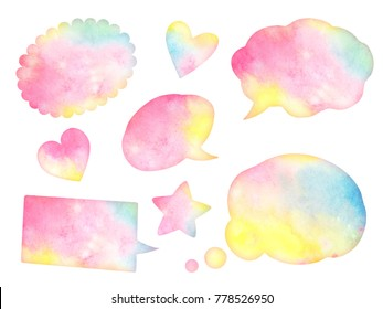 A collection of watercolor hand drawn clouds, speech bubbles isolated on white background.