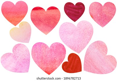 Collection of watercolour painted hearts as design background creative elements for valentine and wedding romantic post cards design.