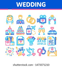Collection Wedding Thin Line Icons Set. Characters Bride And Groom, Rings And Limousine Wedding Elements Linear Pictograms. Church And Arch, Fireworks And Dancing Color Contour Illustrations