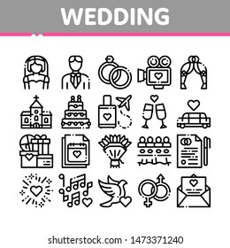 Collection Wedding Thin Line Icons Set. Characters Bride And Groom, Rings And Limousine Wedding Elements Linear Pictograms. Church And Arch, Fireworks And Dancing Black Contour Illustrations