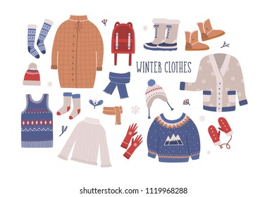 Collection of winter clothes and outerwear isolated on light background - woolen jumper, cardigan, coat, snow boots, scarf, hat, mittens. Bundle of seasonal clothing. Colorful illustration