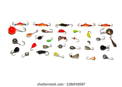 Collection of winter fishing jig. Isolated on white background. Illustrative editorial.