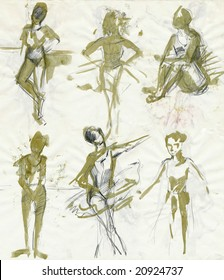 collection of women positions - ballet dancers 1