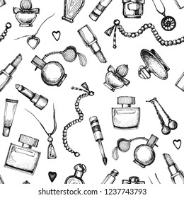 Collection of women's perfumery, cosmetics and jewelry. Graphic elements seamless pattern. Handmade ink and pen.