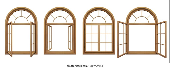 Collection of wooden arched windows isolated on white