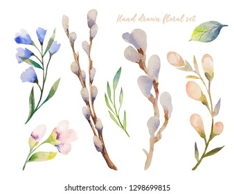 Collectionof hand painted watercolor spring flowers, leaves,  and branches. Isolated objects on a white background. Floral clip art perfect for card making and DIY project